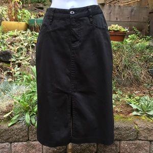 Vintage Anthropologie Black Denim Pencil Skirt